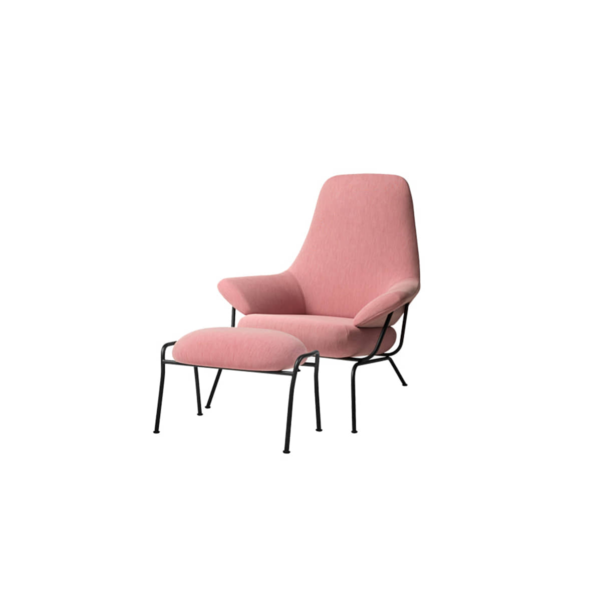 [HEM]Hai Chair + Ottoman Uniform Melange Pink