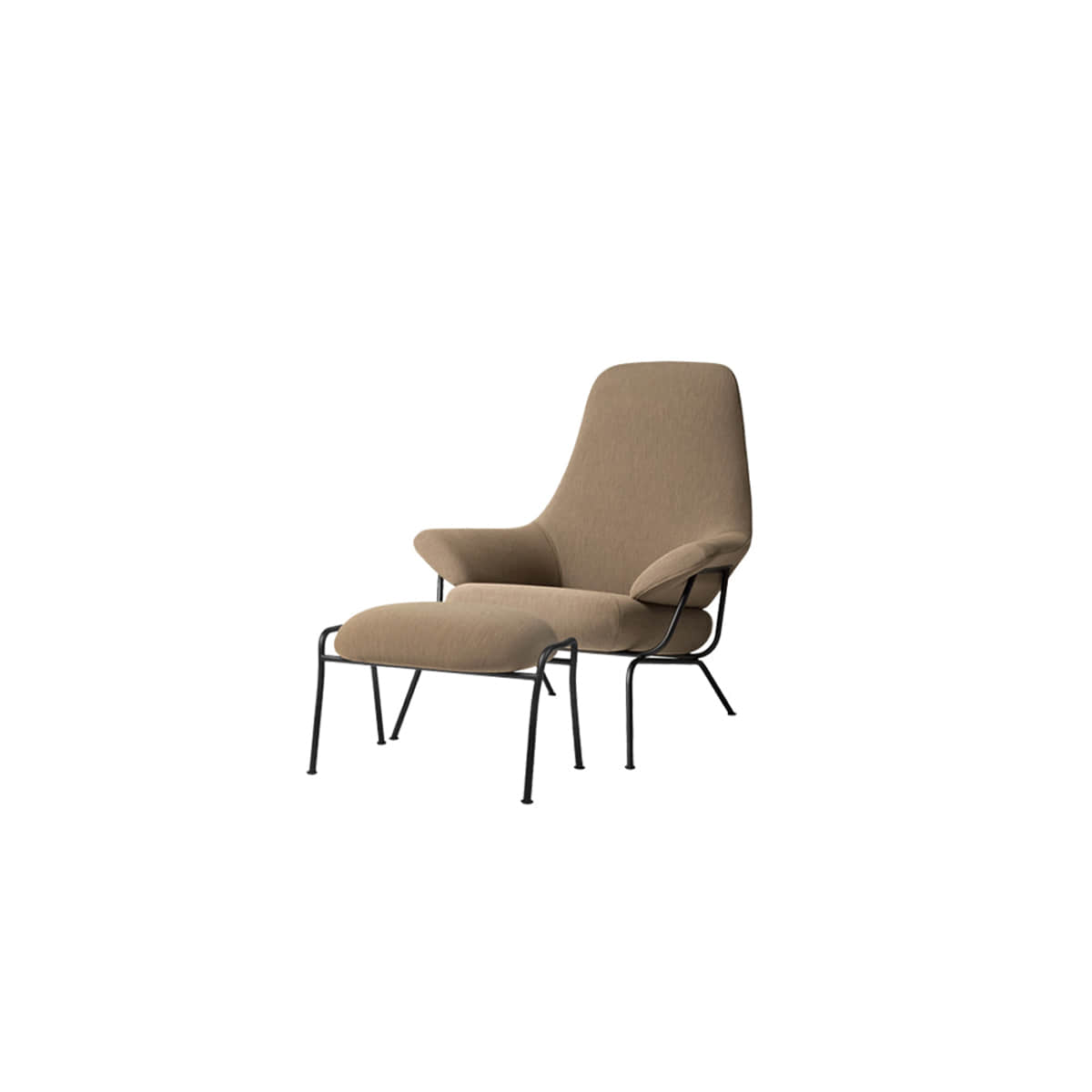 [HEM]Hai Chair + Ottoman Uniform Melange Liquorice